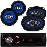Auto Radio Automotivo Bluetooth Sd Mp3 + Par 6pol + par 6x9 pol 55w - Orion