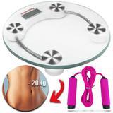 Balança Digital Fitness Banheiro Vidro Temperado -180kg + Corda - Importway