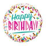 """Balão 18"""" Redondo Happy Birthday! Granulados - Festabox"""