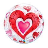 """Balão 22"""" BUBBLE SIMPLES Corações vermelho e Filigrana - Festabox"""