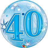 """Balao bubble transparente 22"""" 40 anos com estrelas azul - 56 cm - Qualatex"""