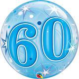 """Balao bubble transparente 22"""" 60 anos com estrelas azul - 56 cm - Qualatex"""