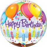 """Balao bubble transparente 22"""" birthday balões e velas - 56 cm - Qualatex"""