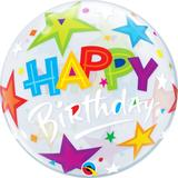 "Balao bubble transparente 22"" birthday estrelas brilhantes - 56 cm - Qualatex"