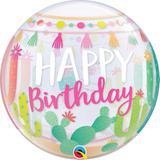 "Balao bubble transparente 22"" happy birthday com lhama - 56 cm - Qualatex"