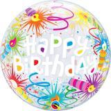 "Balão bubble transparente 22"" happy birthday velas -  56 cm - Qualatex"