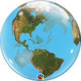 """Balão bubble transparente 22"""" planeta terra -  56 cm - Qualatex"""