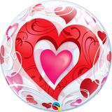 Balão Bubble Transparente Corações Vermelhos - 1 unidade - Qualatex