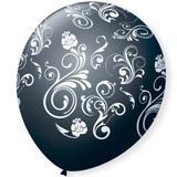 Balão de Látex Arabesco Preto e Branco 25 unidades - São Roque 9 polegadas - Festabox