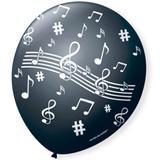 Balão de Látex Notas Musicais Preto e Branco 25 unidades  São Roque 9 polegadas - Festabox