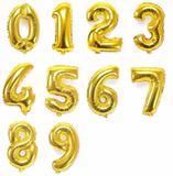 Balão de Número Metalizado Dourado 40 cm - Rn embalagens