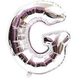 Balão Gigante Letra G Prata Metalizado 75 Cm - Festas  decor