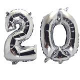 Balão Gigante Número 20  Prata Metalizado Festas Decoração 75 Cm - Festas  decor