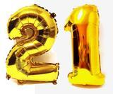 Balão Gigante Número 21  Dourado Metalizado Festas Decoração 75 Cm - Festas  decor