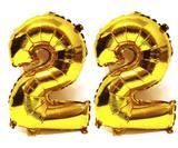 Balão Gigante Número 22  Dourado Metalizado Festas Decoração 75 Cm - Festas  decor