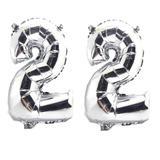 Balão Gigante Número 22  Prata Metalizado Festas Decoração 75 Cm - Festas  decor