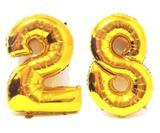 Balão Gigante Número 28  Dourado Metalizado Festas Decoração 75 Cm - Festas  decor