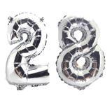 Balão Gigante Número 28  Prata Metalizado Festas Decoração 75 Cm - Festas  decor