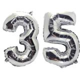 Balão Gigante Número 35 Prata Metalizado Festas Decoração 75 Cm - Festas  decor