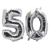 Balão Gigante Número 50 Prata Metalizado Festas Decoração 75 Cm - Festas  decor