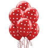 Balão Latéx Nº 10 - 25cm c/ 25 unidades Vermelho Poá Branco - Riberball
