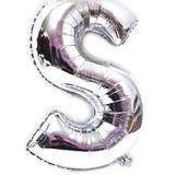 Balão Letra S Prata Metalizado 40 Cm - Festas  decor