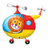 Balão metalizado 35 polegadas - leão piloto de helicóptero - qualatex