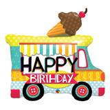 Balão metalizado 36 polegadas - caminhão de sovete de aniversário - qualatex