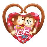 Balão metalizado 39 polegadas - happy love day monkeys - qualatex