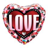 Balão metalizado coração 18 polegadas - amor e triângulos - qualatex