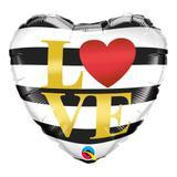 Balão metalizado coração 18 polegadas - amor listras horizontais - qualatex