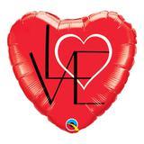 Balão metalizado coração 18 polegadas - l(coração)ove, vermelho - qualatex