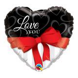 Balão metalizado coração 18 polegadas - te amo com fita vermelha - qualatex