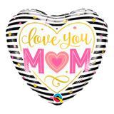 Balão metalizado coração 18 polegadas - te amo m(coração)m listrado - qualatex