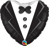 Balão Metalizado Coração Terno de Noivo - 1 unidade - Qualatex