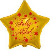 Balão Metalizado Estrela 9 polegadas - 23 cm Ouro Feliz Natal - Flexmetal