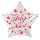 Balão Metalizado Estrela Prata Feliz Natal - Flexmetal - Festabox