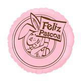 Balão Metalizado Feliz Páscoa Rosa - Festabox