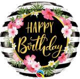 Balão Metalizado Happy Birthday Tropical - 1 unidade - Qualatex