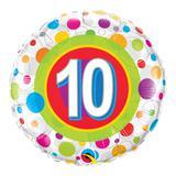 Balão metalizado redondo 18 polegadas - 10 anos pontos coloridos - qualatex