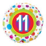 Balão metalizado redondo 18 polegadas - 11 anos pontos coloridos - qualatex
