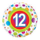 Balão metalizado redondo 18 polegadas - 12 anos pontos coloridos - qualatex