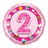 Balão metalizado redondo 18 polegadas - 2 anos animais da fazenda rosa - qualatex