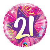 Balão metalizado redondo 18 polegadas - 21 estrela brilhante rosa intenso - qualatex