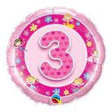 Balão metalizado redondo 18 polegadas - 3 anos fadas rosa - qualatex