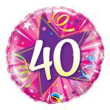 Balão metalizado redondo 18 polegadas - 40 estrela brilhante rosa intenso - qualatex