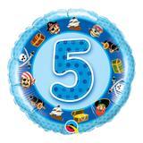 Balão metalizado redondo 18 polegadas - 5 anos piratas azuis - qualatex