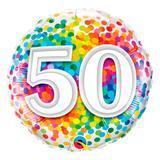 Balão metalizado redondo 18 polegadas - 50 confete arco-íris - qualatex