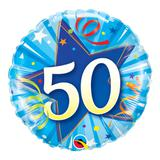 Balão metalizado redondo 18 polegadas - 50 estrela brilhante, azul intenso - qualatex