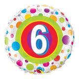 Balão metalizado redondo 18 polegadas - 6 anos pontos coloridos - qualatex